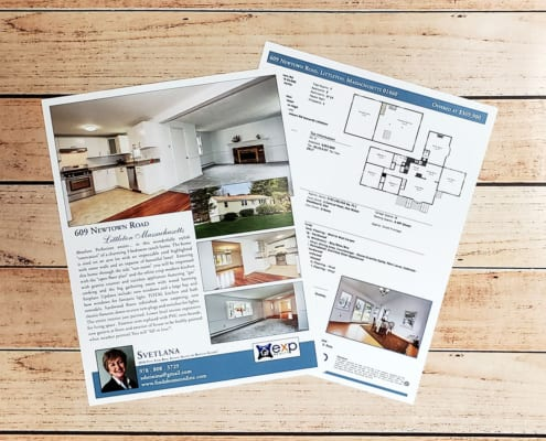 Double sided real estate listing sheet